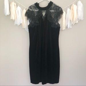 WHBM Black Velvet Lace Cocktail Formal Dress